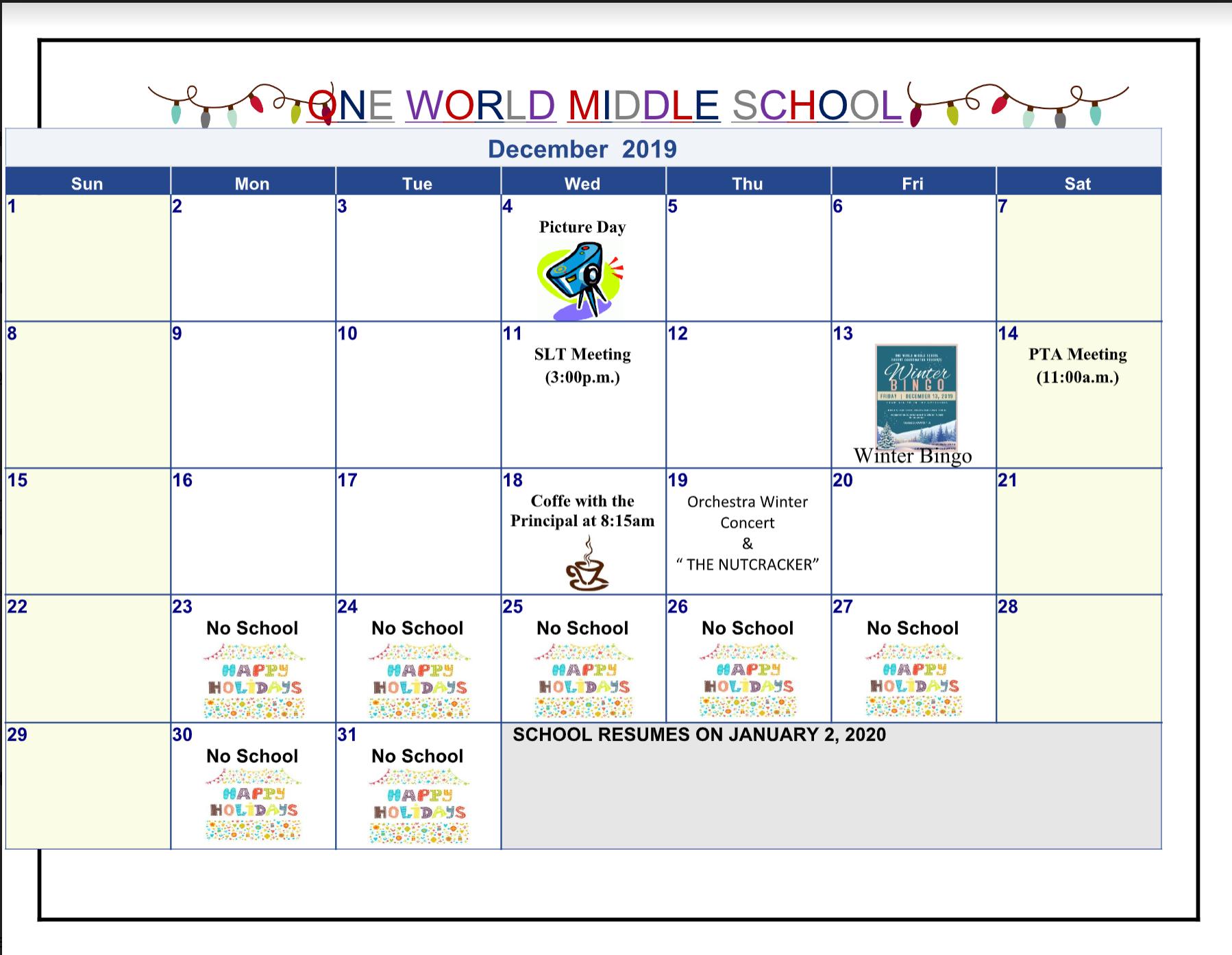 December 2019 OWMS Calendar